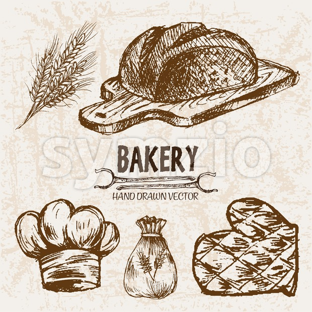 Digital vector detailed line art bakery and bread hand drawn retro illustration collection set, stove oven. Thin artistic pencil outline. ...
