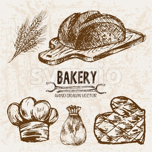 Digital vector detailed line art bakery and bread hand drawn retro illustration collection set, stove oven. Thin artistic pencil outline. Vintage ink Stock Vector