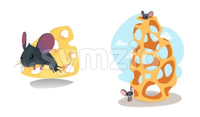 Digital vector funny cartoon cheese labyrinth with happy mice on top and at the bottom, abstract flat style Stock Vector