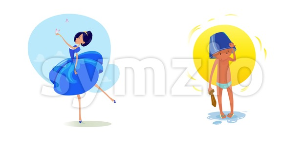 Digital vector funny comic cartoon fairytale princess girl in blue dress dancing with butterflyes at a ball, royal shoes and ...