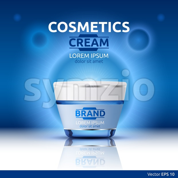 Moisturizing Cream cosmetic ads template. Hydrating face lotion. Mockup 3D Realistic illustration. Sparkling blue background color Stock Vector