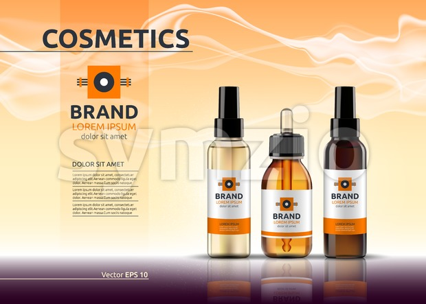 Body care cosmetic set serum, oil and cream ads template. Hydrating facial or body lotions. Mockup 3D Realistic illustration. Sparkling deep red Stock Vector