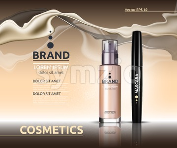 Mascara and Skin toner ads cosmetics. Glass bottle and sparkling effects background. Elegant golden lable for design, template. Mockup 3D Realistic Stock Vector