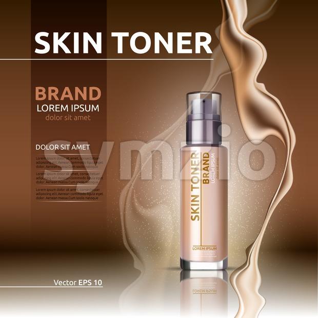 Skin toner . Glass bottle and sparkling effects background. Elegant golden lable for design, template, . Mockup 3D Realistic Vector illustration Stock Vector