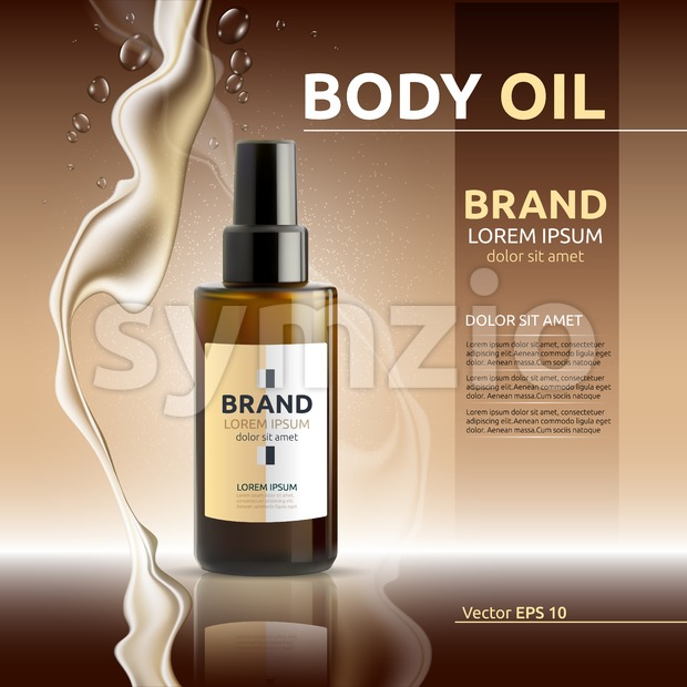 Body oil cosmetic ads template. Hydrating body lotions. Mockup 3D Realistic illustration. Liquid drops Stock Vector
