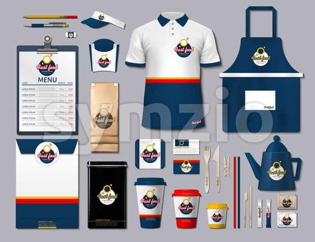 Business fastfood corporate identity items set. Vector fastfood Color promotional uniform, timetable, coffee cups design with logos. Work Stuff Stock Vector