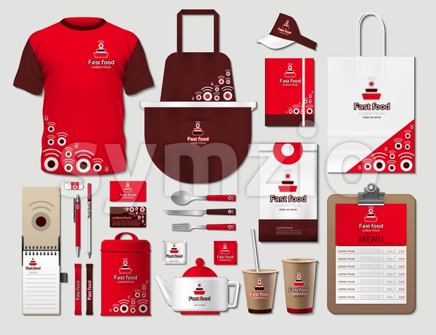 Business fastfood corporate identity items set. Vector fastfood Color promotional uniform, apron, menu, timetable, coffee cups design with logos. Work ...