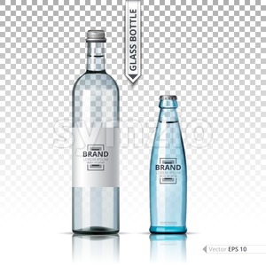Mineral still or sparkling water bottles mock up. Isolated on transparent background. Vector 3d detailed mock up set illustrations Stock Vector