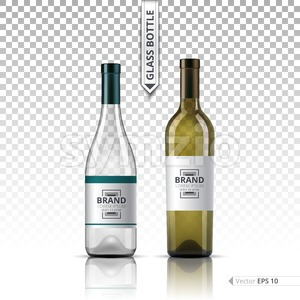 Realistic Glass of White wine and bottle isolated on transparent background. Vector 3d detailed mock up set illustration Stock Vector