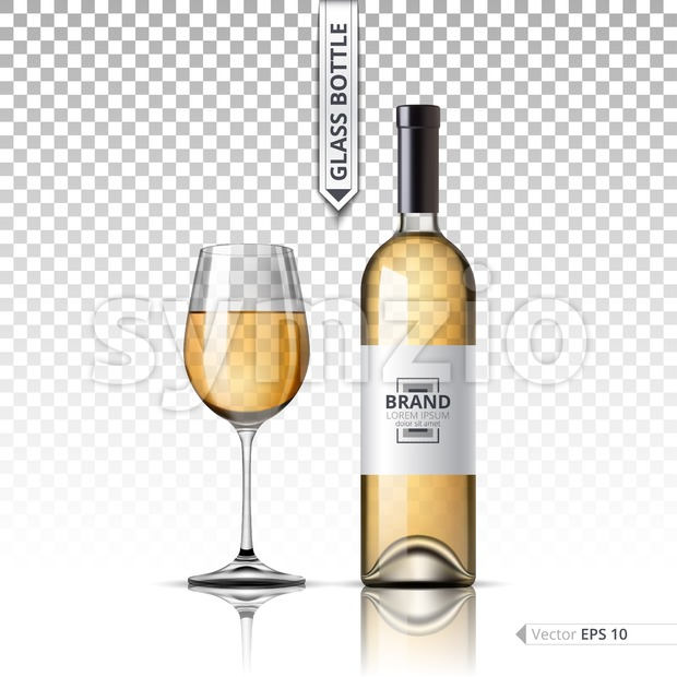 Realistic Glass of Red wine and bottle isolated on transparent background. Vector 3d detailed mock up set illustrations Stock Vector