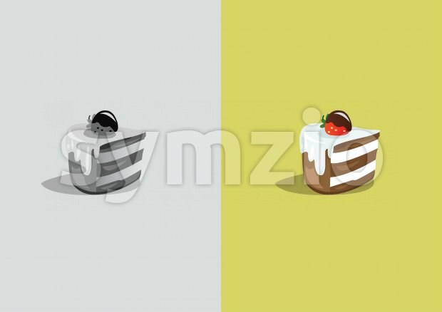 Digital vector funny comic cartoon colored and black and white piece of cake with cream and strawberry, abstract realistic flat ...