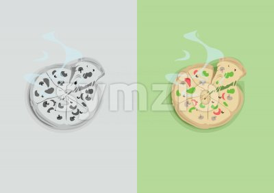 Digital vector funny comic cartoon colored and black and white hot pizza with vegetables and steam, abstract realistic flat style Stock Vector