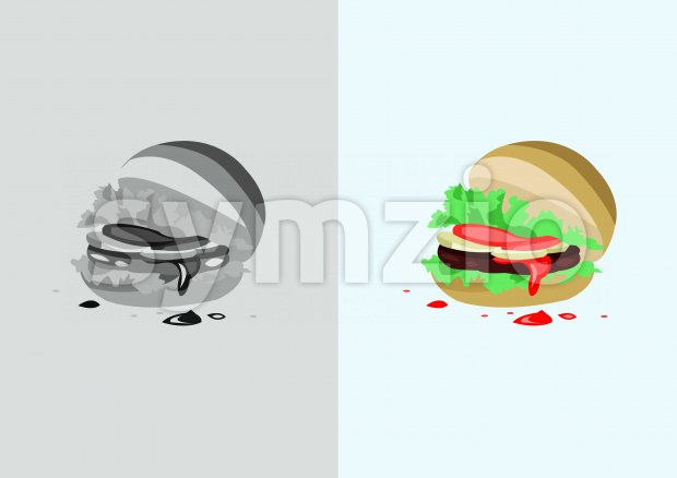 Digital vector funny comic cartoon colored and black and white hot burger with ketchup, abstract realistic flat style