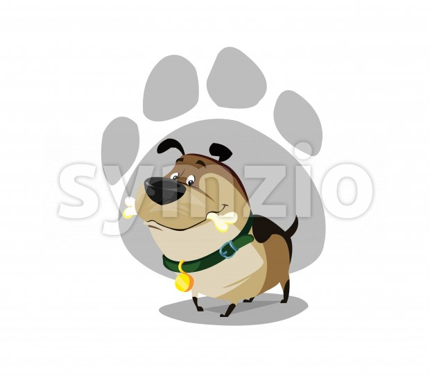 Digital vector funny comic cartoon colored happy puppy dog with a bone in mouth, foot print, green collar and golden medal, hand drawn illustration, Stock Vector