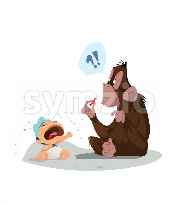 Digital vector funny comic cartoon colored monkey wondering what a red candy is and crying baby, hand drawn illustration, abstract realistic flat Stock Vector