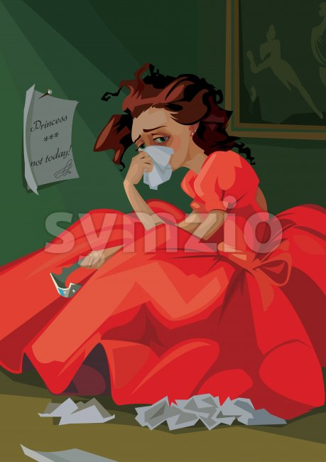 Digital vector funny comic cartoon fairytale red dress princess with crown crying at a ball and throwing away letters, not today, abstract realistic Stock Vector