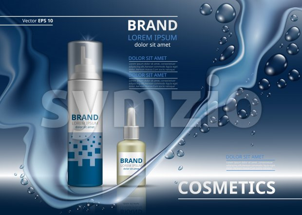 Cosmetic package ads template. Shampoo or gel and oil bottles. Mockup 3D Realistic illustration. Sparkling water drops backgrounds