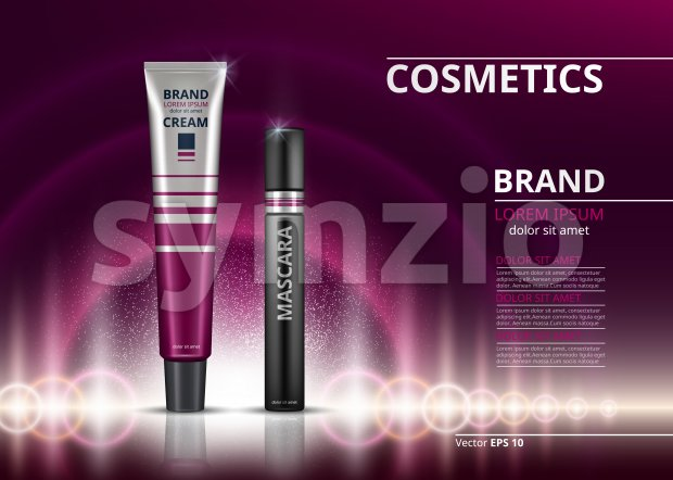Mascara and eye cream for dark circles. sparkling effects background. Elegant label for design, template. Mockup 3D Realistic Vector illustrations Stock Vector