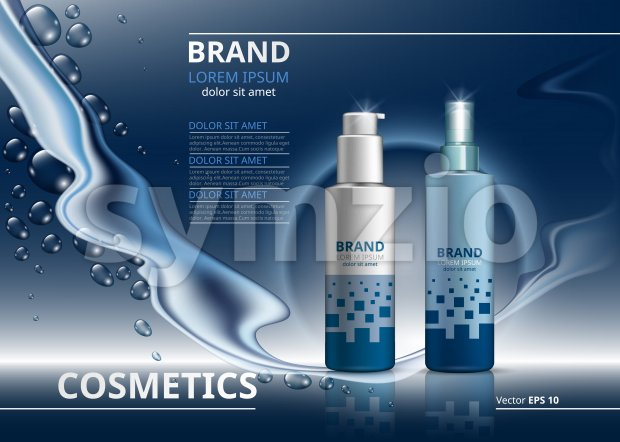 Cosmetic package ads template. Skin care gel or mousse bottles. Mockup 3D Realistic illustration. Sparkling water drops backgrounds