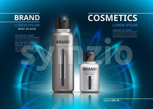 Cosmetic package ads template. Shampoo or shower gel, skincare products in silver bottles. Mockup 3D Realistic illustration. Sparkling water drops Stock Vector