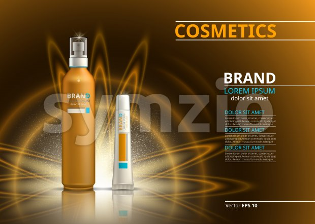 Sun protection realistic product design. Cosmetic bottles spray and lip balm on a blur sparkling background. Template for ads or ...