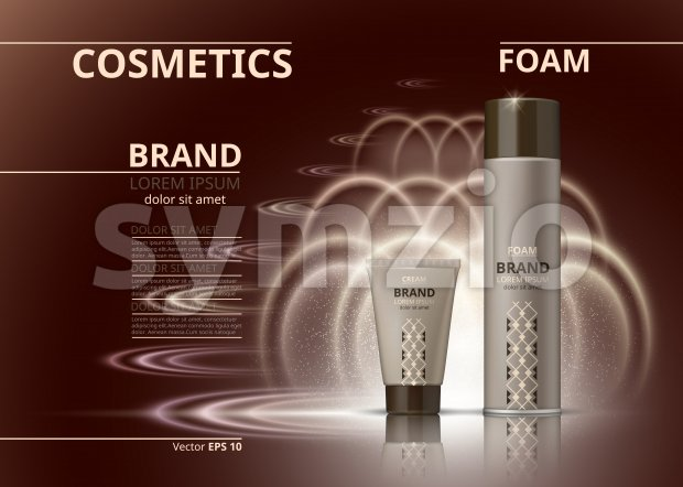 Cosmetic realistic package ads template. Hydrating body foam and gel products bottles. Mockup 3D illustration. Sparkling backgrounds Stock Vector
