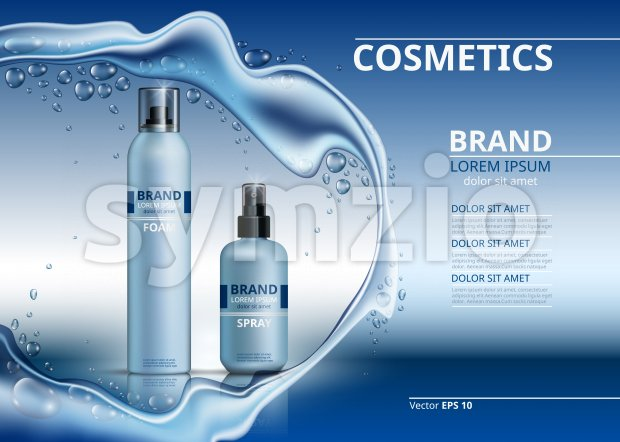Cosmetic realistic package ads template. Body foam and gel products bottles. Mockup 3D illustration. Sparkling water drops background