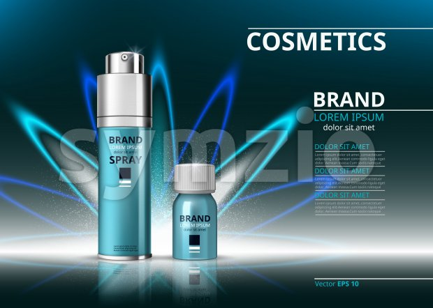 Cosmetic realistic package ads template. Hydrating face serum and spray products bottles. Mockup 3D illustration. Sparkling background