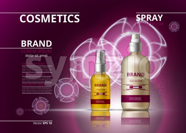 Cosmetic realistic package ads template. Hydrating skin oil and gel products bottles. Mockup 3D illustration. Sparkling backgrounds