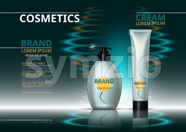 Cosmetic package ads template. Skin care gel, body cream or handcream bottles. Mockup 3D Realistic illustration. Sparkling water drops backgrounds