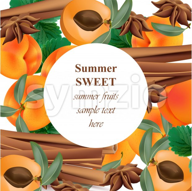 Summer appricot and cinnamon background pattern Vector illustration