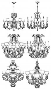 Rich Baroque Classic chandelier. Luxury decor accessory design. Vector illustration sketch Stock Vector