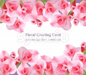 Pink floral card Vector. delicate summer card. Springtime fresh natural compositions Stock Vector