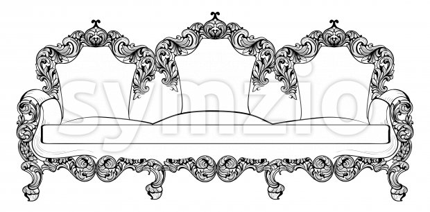 Baroque furniture set with luxurious ornaments. Vector French Luxury rich intricate structure. Victorian Royal Style decors Stock Vector