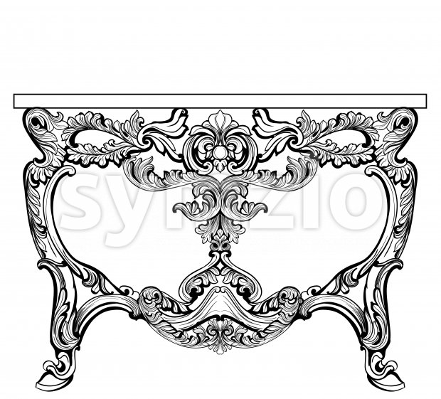 Exquisite Baroque console table engraved. Vector French Luxury rich intricate ornamented structure. Victorian Royal Style decors Stock Vector