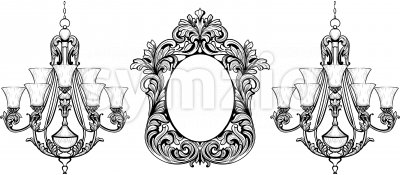 Fabulous Baroque Mirror and chandelier frame set. Vector French Luxury rich carved ornaments. Victorian wealthy Style furnitures Stock Vector