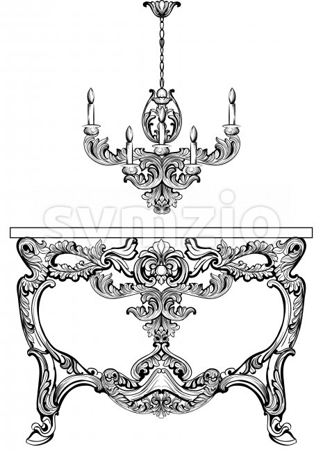 Exquisite Baroque console table engraved. Vector French Luxury rich intricate ornamented structure. Victorian Royal Style decor Stock Vector