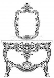 Exquisite Baroque dressing table engraved. Vector French Luxury rich intricate ornamented structure. Victorian Royal Style decors Stock Vector