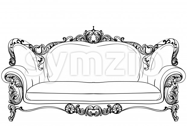 Baroque sofa with luxurious ornaments. Vector French Luxury rich intricate structure. Victorian Royal Style decors