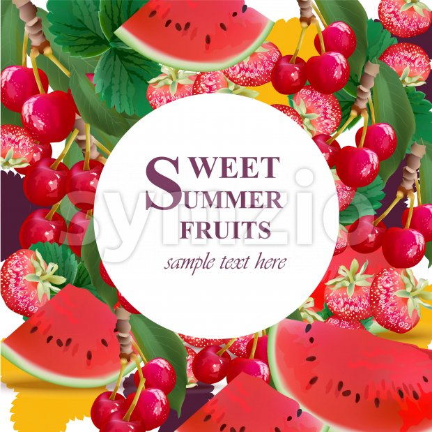 Summer watermelon, strawberry, cherries fusion background Vector illustration