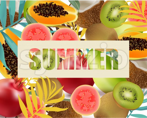 Summer fruits avocado, papaya, kiwi, pomegranate palm leaves Vector illustration Stock Vector