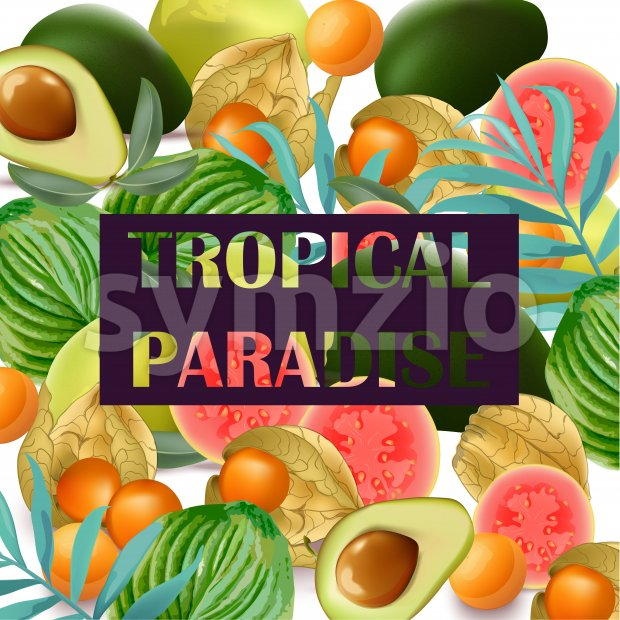 Tropical Paradise fruits avocado, papaya, gooseberry palm leaves Stock Vector