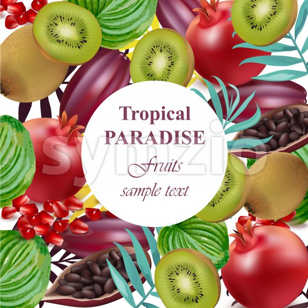 Tropical Paradise fruits avocado, papaya, kiwi, pomegranate, palm leaves Vector illustration