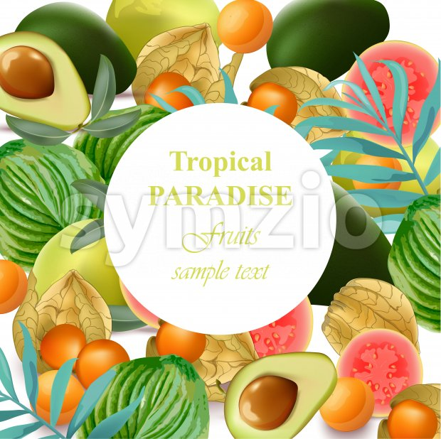 Tropical Paradise fruits avocado, papaya, gooseberry, palm leaves green Stock Vector