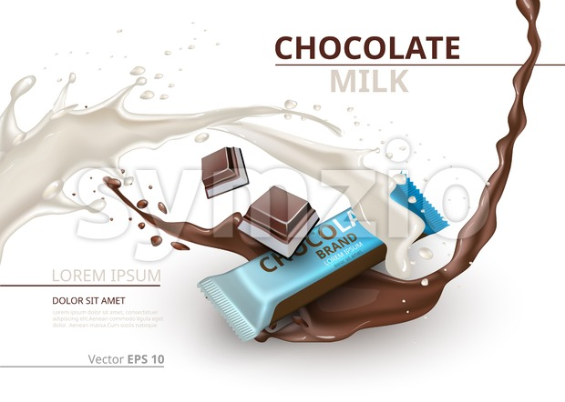 Chocolate bar with milk realistic Mock up Vector label design. Splash and chocolate drops backgrounds