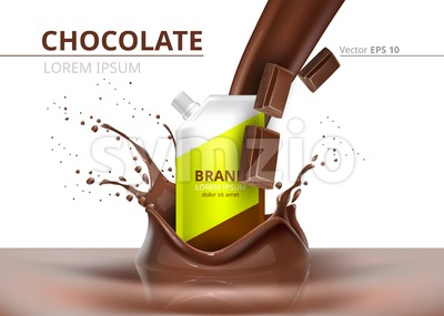Chocolate package mock up Vector realistic on splash backgrounds Stock Vector