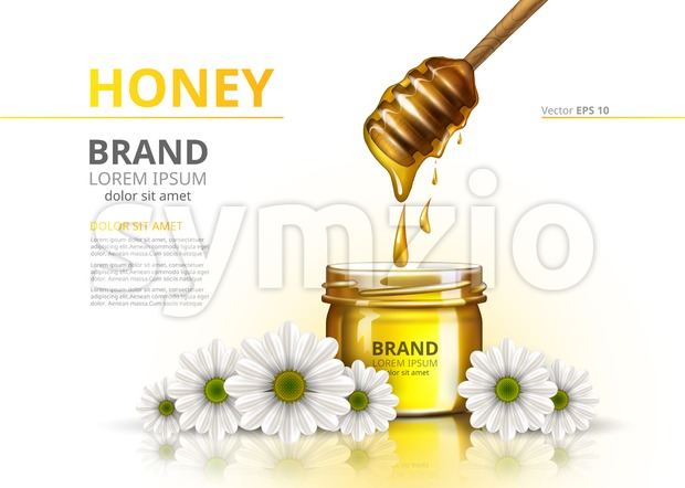Honey jar Vector realistic mock up. Advertise commertial package on chamomile flower backgrounds