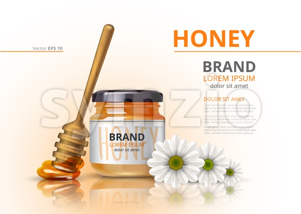 Acacia honey jar with wooden dipper Vector realistic mock up backgrounds