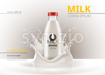 Milk bottle package mock up Realistic Vector. Liquid splash backgrounds Stock Vector