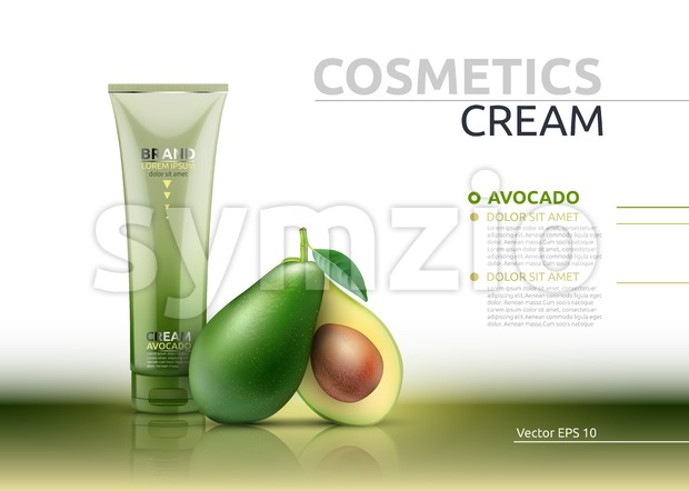 Cream cosmetic realistic mock up package avocado essence. Vector 3D illustration. Cosmetic package ads template. Natural fruit detailed 3d element